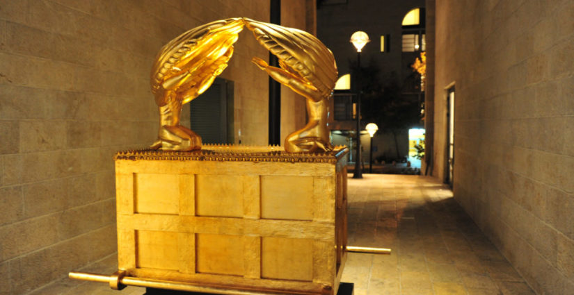 The Ark of the Covenant artwork exhibit in Mamilla open shopping mall in Jerusalem, Israel.